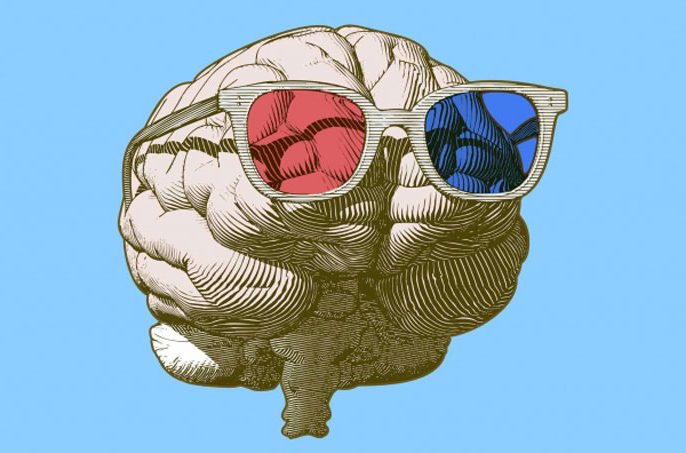 Brain with red and blue sunglasses on