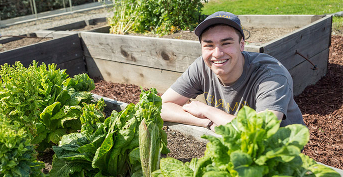 Young man smiles in campus garden